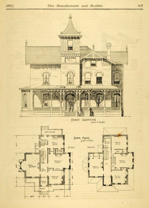 Outstanding 1873 Print House Home Architectural Design Floor Plans Victorian Victorian House Plans Photo