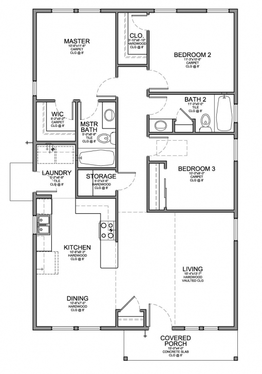 Outstanding Floor Plan For A Small House 1,150 Sf With 3 Bedrooms And 2 Baths 3 Bedroom 2 Bath Floor Plans Pic