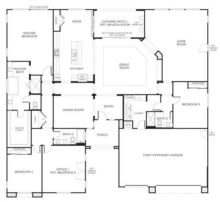 Outstanding Floorplan 2: 3-4 Bedrooms, 3 Bathrooms, 3400+ Square Feet | Dream One Floor House Plans Photo