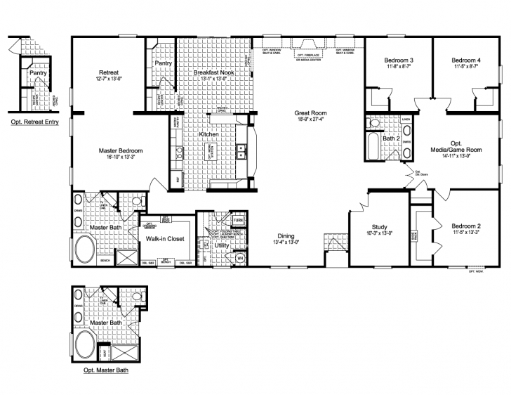 Outstanding View The Evolution Triplewide Home Floor Plan For A 3116 Sq Ft Palm Triple Wide Floor Plans Pic