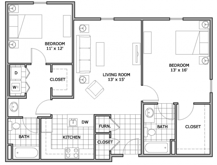 Picture of 2 Bed / 2 Bath Apartment In Springfield Mo | The Abbey Apartments 2 Bedroom Apartment Floor Plans Pic
