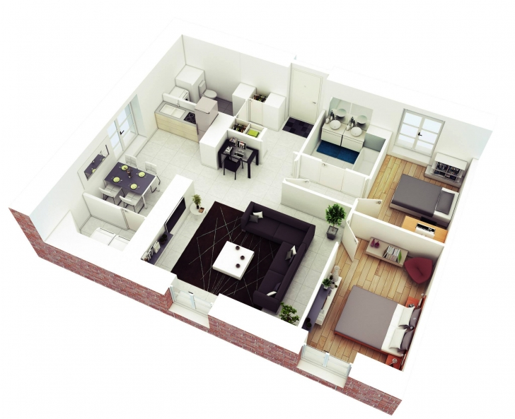Picture of 25 More 2 Bedroom 3D Floor Plans 3. Interior Design Portfolio Two Bedroom House Plans Pic