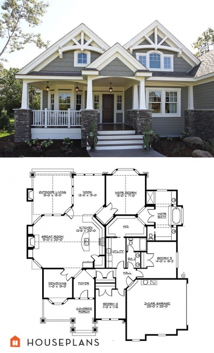 Picture of Craftsman Plan #132-200. Great Bones. Could Be Changed To 2 Bedroom Craftsman Style House Plans Pic