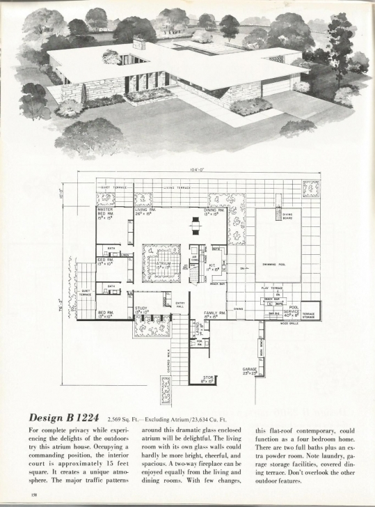 Picture of Gotta Have An Atrium. Vintage House Plans, Mid Century Homes, 1960S Atrium Floor Plan Image