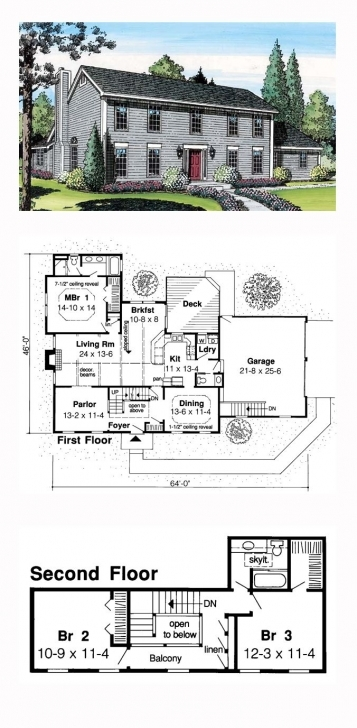 Picture of Saltbox House Plan 20136 | Total Living Area: 2095 Sq. Ft., 3 Saltbox House Plans Photo
