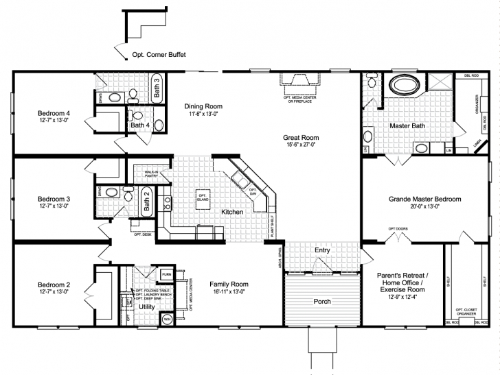 Picture of The Hacienda Iii 41764A Manufactured Home Floor Plan Or Modular Manufactured Homes Floor Plans Image