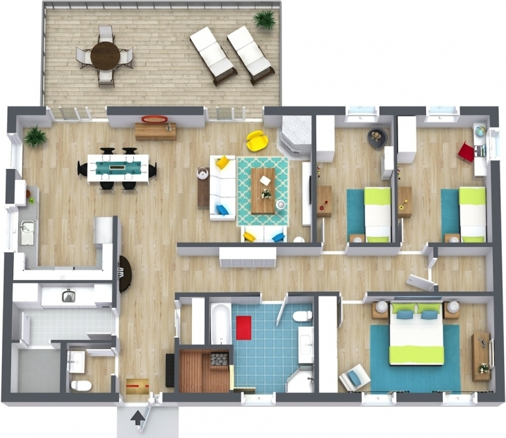 Popular 3 Bedroom Floor Plans | Roomsketcher Floor Plans For 3 Bedroom Apartments Image