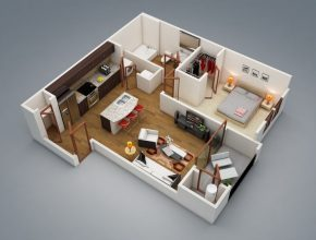 """Popular 50 One """"1"""" Bedroom Apartment/house Plans 