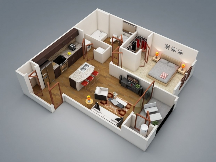"Popular 50 One ""1"" Bedroom Apartment/house Plans 