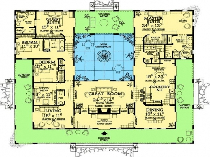 Popular Adobe House Plans With Courtyard Fresh Center In | Theworkbench Adobe House Plans Picture