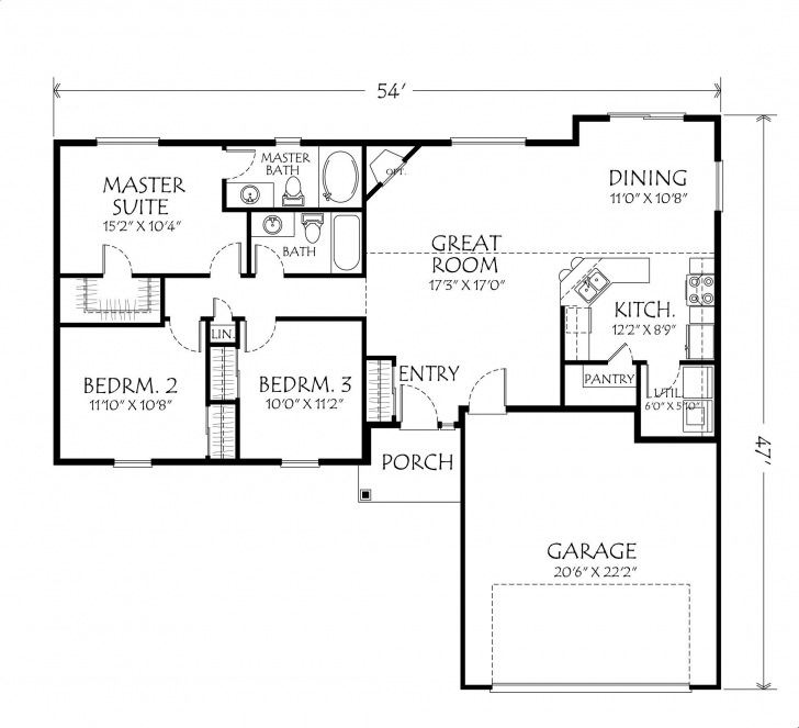 Popular Single Story Open Floor Plans Plan 3 Bedrooms 2 Beautiful One Level One Level House Plans Pic