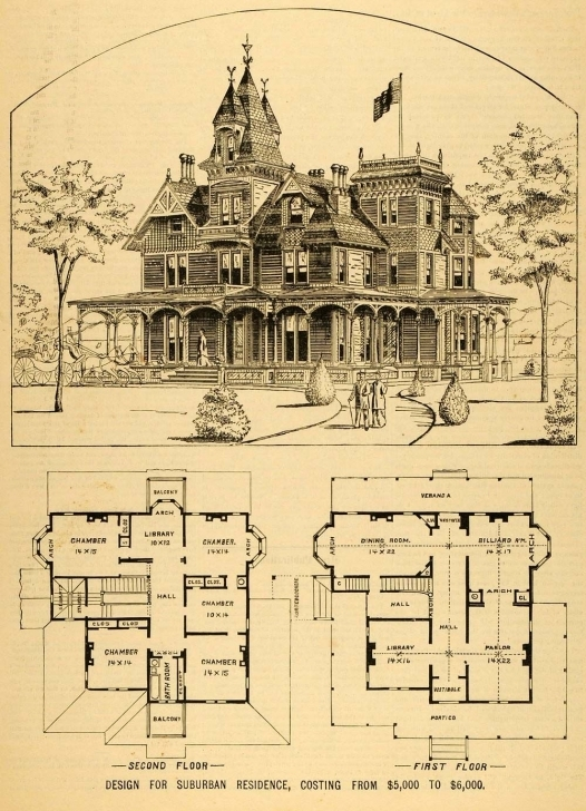 Remarkable 1879 Print Victorian House Architectural Design Floor Plans Horace G Victorian House Plans Photo