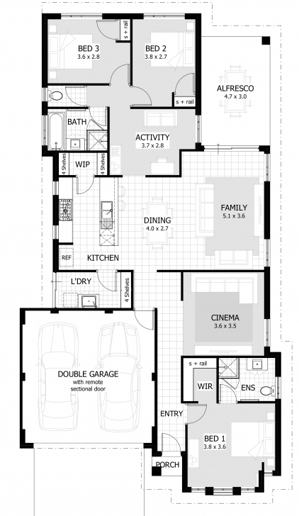 Remarkable 3 Bedroom House Plans & Home Designs | Celebration Homes Floor Plans.Com Image