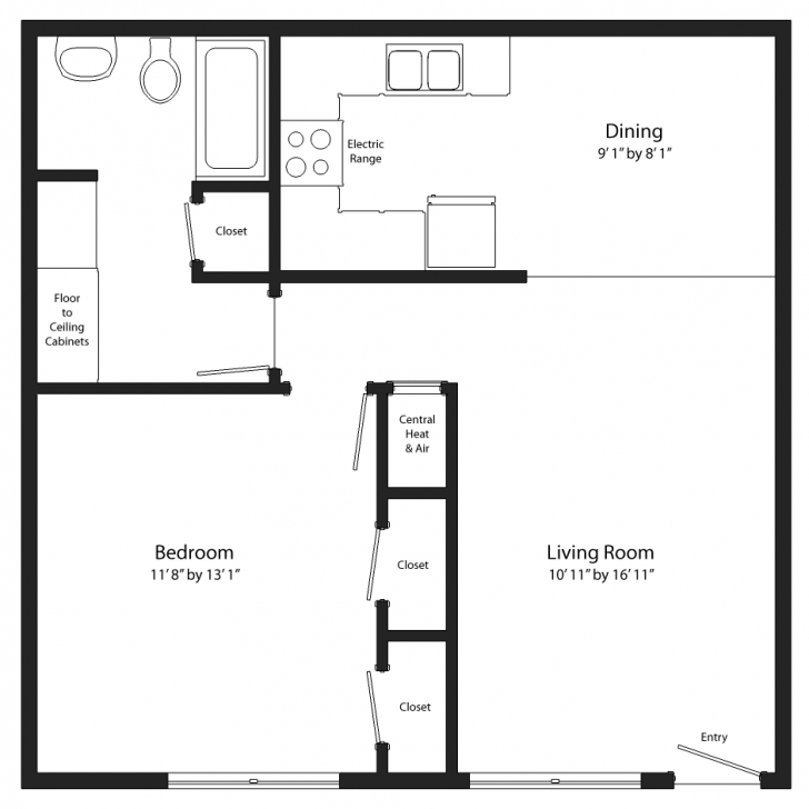 Remarkable One Bedroom Floor Plans - Surripui Large One Bedroom Floor Plans Photo