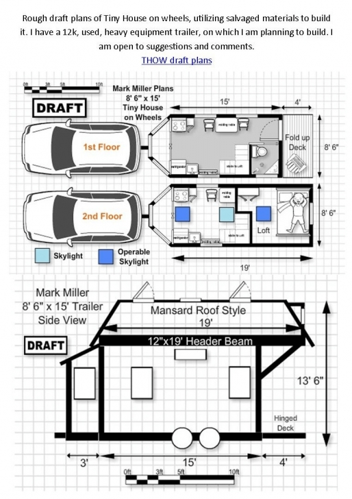 Remarkable Tiny House On Wheels Floor Plans 1St And 2Nd Floor | Tumbleweed Tiny House On Wheels Plans Picture