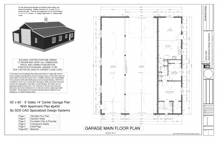 Splendid G450 60 X 50 -10' Apartment Barn Style_Page_1 | Sds Plans | Cabin Horse Barn With Apartment Floor Plans Image