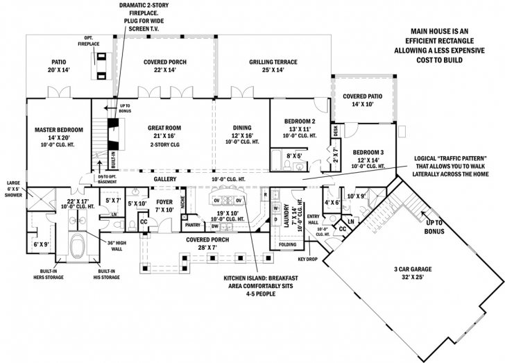Splendid Ranch House Plan With 3 Bedrooms And 3.5 Baths - Plan 4445 House Plans Ranch Image