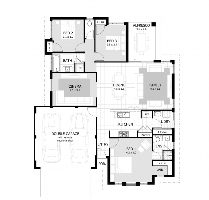 Top 3 Bedroom House Plans & Home Designs | Celebration Homes Floor Plans.Com Image