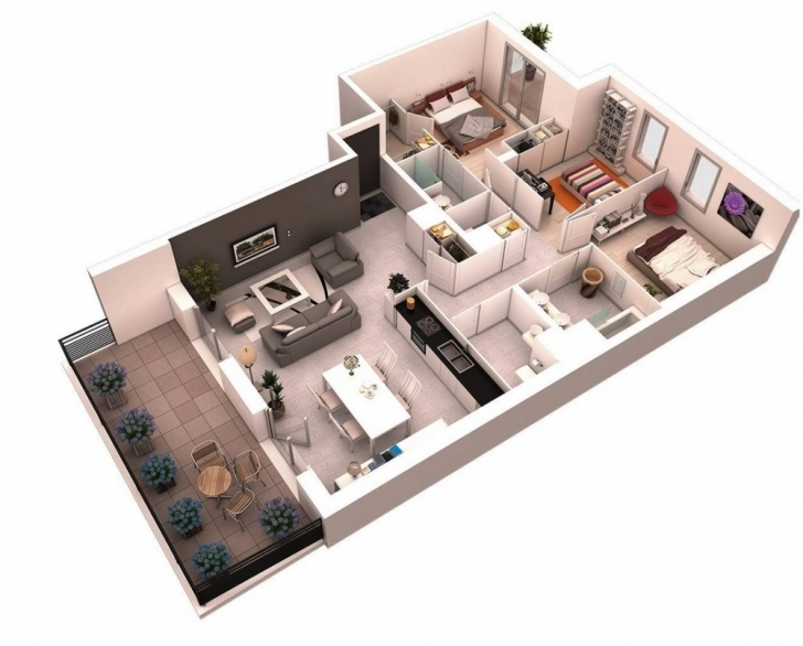 Top 3D Floor Plans — Bhq Design - Australia - 3D Photo Realistic - Rendering 3d House Plans Photo