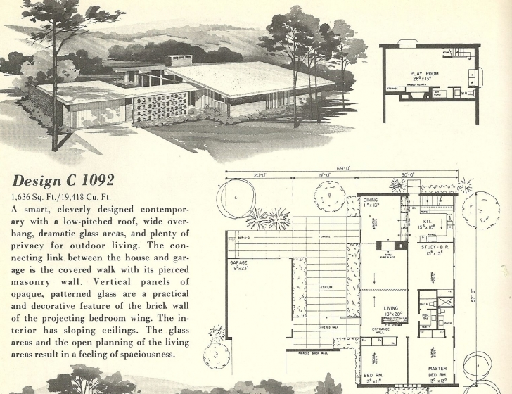 Top Mid Century Modern House Plans | Vintage House Plans 1960S: Spanish Mid Century Modern House Plans Photo