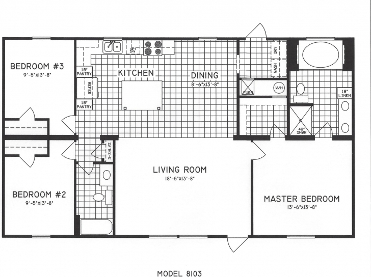 Top Photo of 3 Bedroom Floor Plan: C 8103 Hawks Homes Manufactured & Modular 3bed 2bath Floor Plans Pic