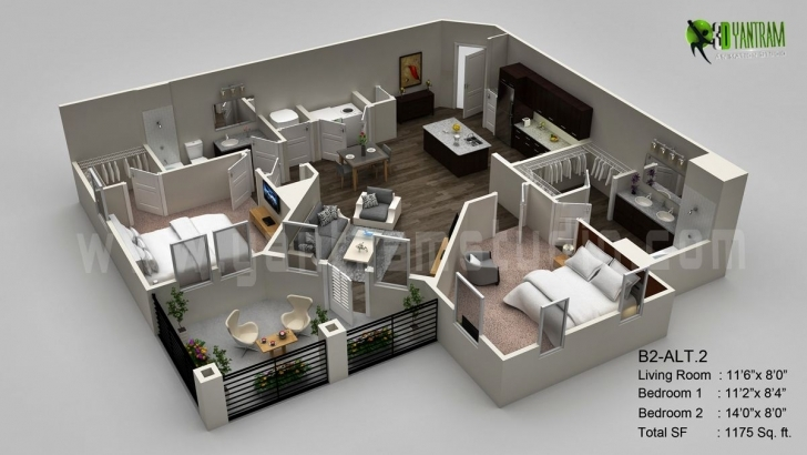 Top Photo of 3D Floor Plan Visualization | Arch-Student 3d Floor Plans Pic