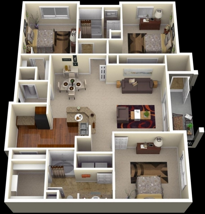 """Top Photo of 50 Three """"3"""" Bedroom Apartment/house Plans 