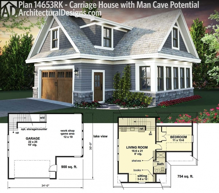 Top Photo of Architectural Designs Carriage House Plan 14653Rk. Use It For Your Carriage House Floor Plans Picture