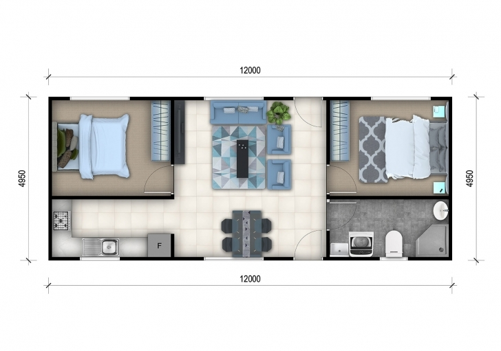 Wonderful 2 Bedroom Granny Flat Designs | 2 Bedroom Granny Flat Floor Plans Granny Flat Floor Plans Image