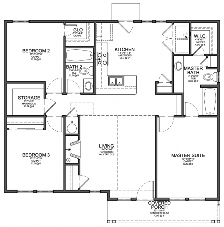 Wonderful 3 Bedroom 2 Bath House Plans With Carport - Bedroom Ideas 3bed 2bath Floor Plans Pic