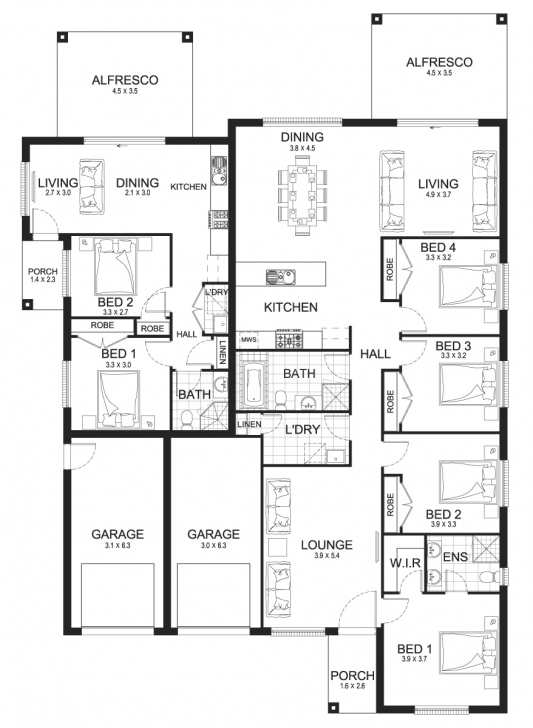 Wonderful New Home Builders | Pavillion Dual 33 - Dual-Living Storey Home Designs Dual Living Floor Plans Image