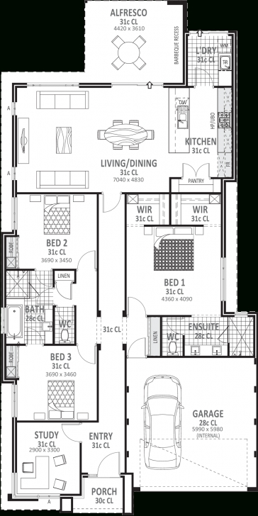 Exquisite 3 Bedroom House Plans & Designs Perth   Vision One Homes 3 Bedroom House Plans Pic
