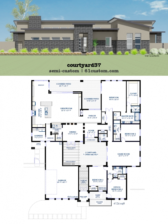 Exquisite Modern Courtyard House Plan | 61Custom | Contemporary & Modern House Modern House Plans Image