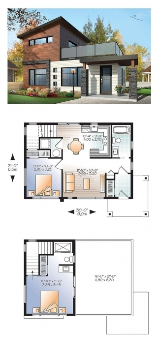 Exquisite Modern House Plan 76461 | Total Living Area: 924 Sq. Ft., 2 Bedrooms Modern House Plans Photo