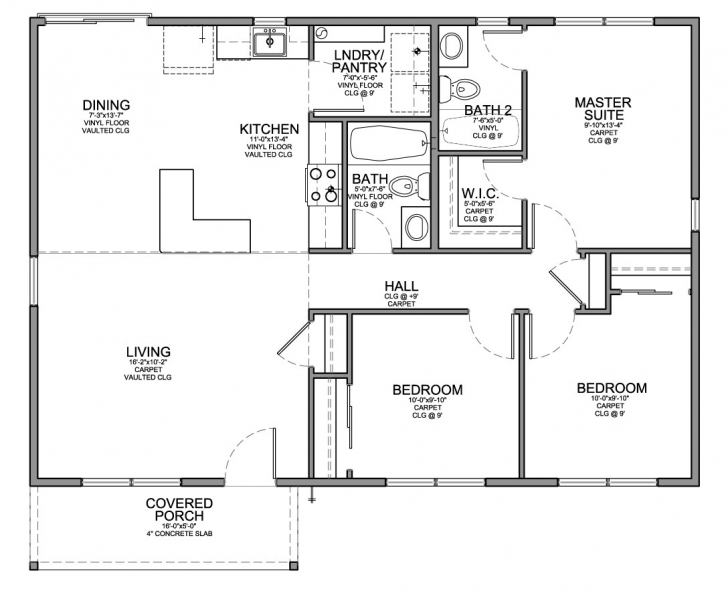 Great Floor Plan For Affordable 1,100 Sf House With 3 Bedrooms And 2 Small House Floor Plans Photo