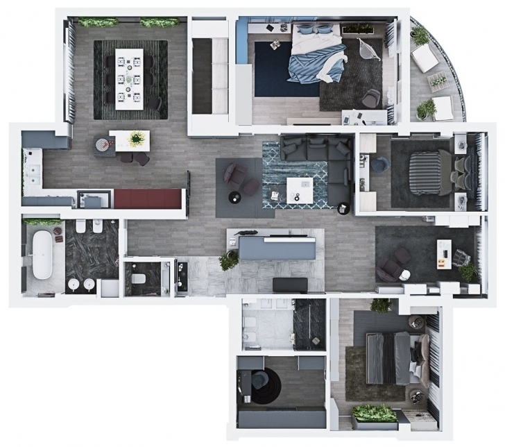 Incredible Luxury 3 Bedroom Apartment Design Under 2000 Square Feet (Includes Floor Plans For 3 Bedroom Apartments Image