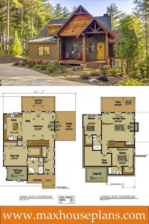 Interesting Small Cabin Home Plan With Open Living Floor Plan   House Plans Cabin House Plans Photo