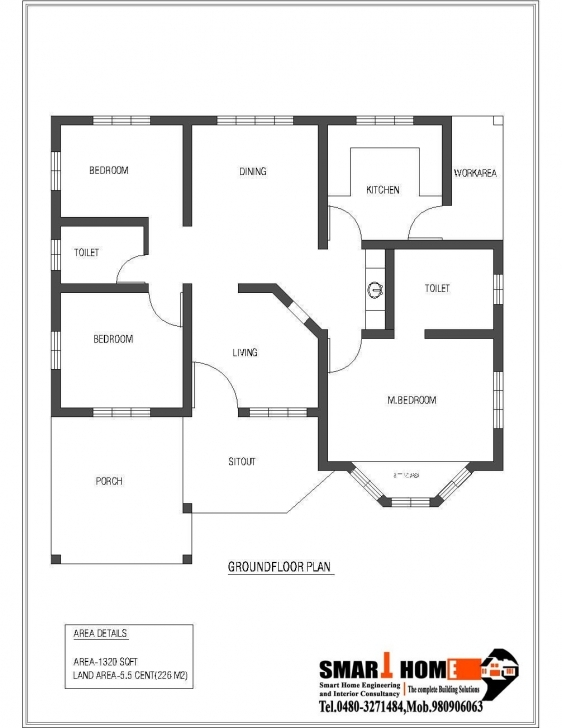 Outstanding 1320 Sqft Kerala Style 3 Bedroom House Plan From Smart Home Gf Plan Floor Plans Kerala Style Houses Picture