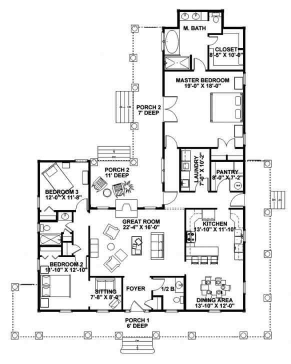 Outstanding Two Story House Plans With Porches Bedroom Open Floor Plan Intended House Plans With Porches Image