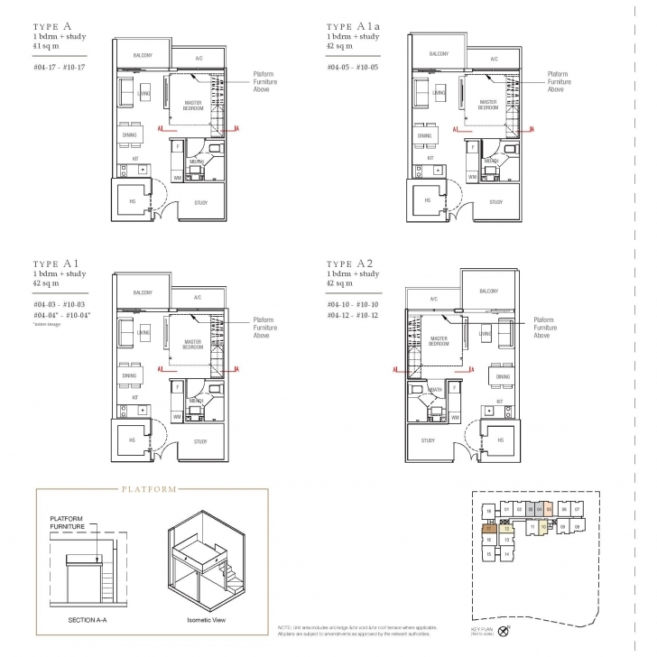 Top 1 Bedroom + Study - The Midtown And Midtown Residences Midtown Residences Floor Plan Picture