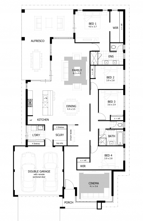 Top 4 Bedroom House Plans & Home Designs | Celebration Homes Four Bedroom House Plans Image