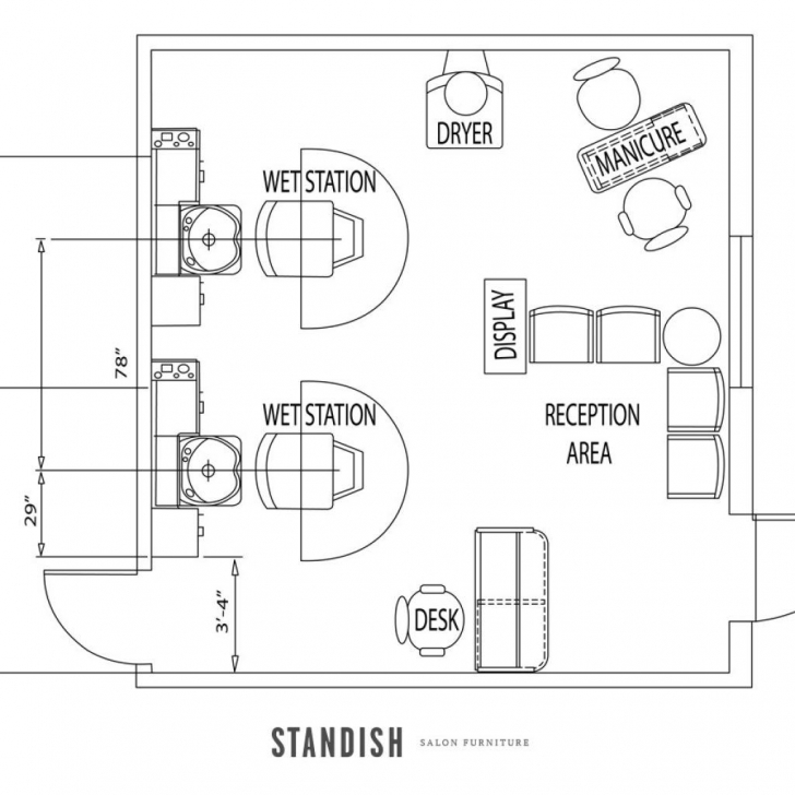 Top Shampoo And Color Bar In Place Of One Station, Beverage Area And Small Beauty Salon Floor Plans Photo