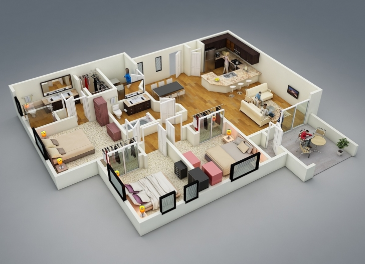 Wonderful 25 More 3 Bedroom 3D Floor Plans | Home | Pinterest | 3D, Bedrooms 3d House Plans Photo